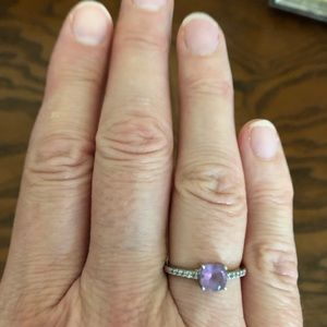 Jewelry - Amethyst and White Topaz silver ring.